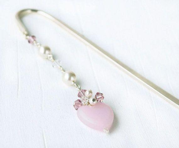 Pink Heart Bookmark: Beaded Bookmark, Metal Bookmark, Swarovski, Book Hook, Heart, Pearls, Pink, Swarovski, Gift, For Her, Women