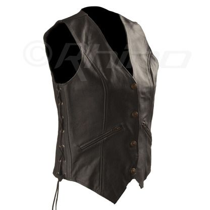 Womens Leather Vest with Zip Pocket detail