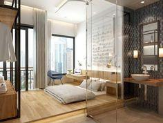 chambre coucher avec lit bas revtement de sol en bois clair et salle de - Salle A Coucher
