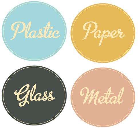 Organize your recycling bins with these charming labels. Not only will you feel for organized, but you're doing something good for the planet. Can't beat that!  Poppytalk - New Downloadable Recycling Bin Labels