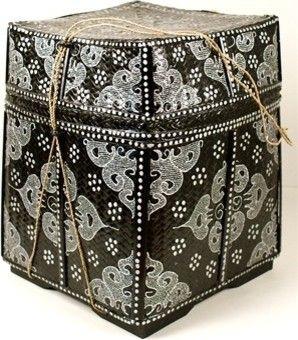 Balinese Basket, Black/Silver asian baskets