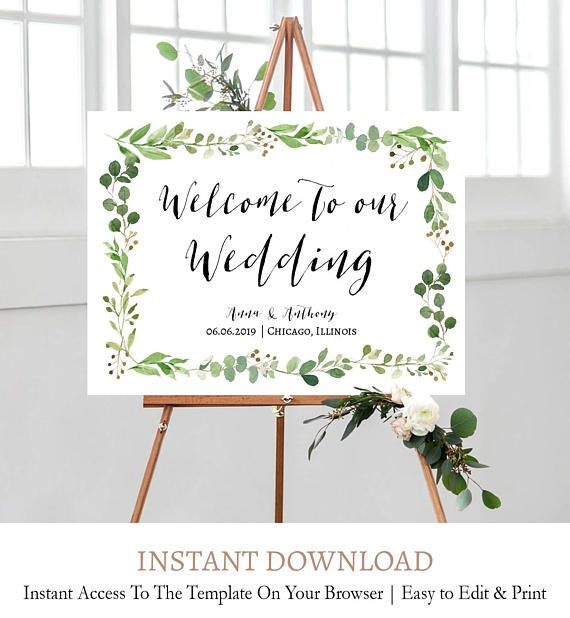 Foliage Welcome Signage Green Wreath Wedding Sign Sprigs Welcome