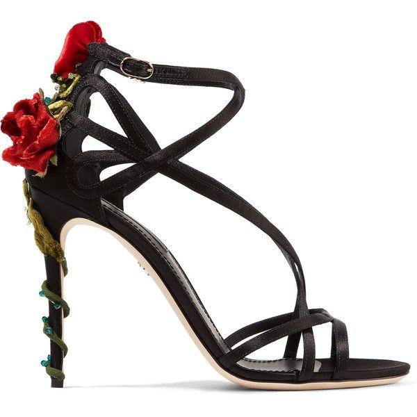 Dolce & GabbanaVelvet And Crystal-embellished Satin Sandals (4.145 BRL) ❤ liked on Polyvore featuring shoes, sandals, black, high heel shoes, satin sandals, strappy high heel shoes, monk-strap shoes and strap sandals