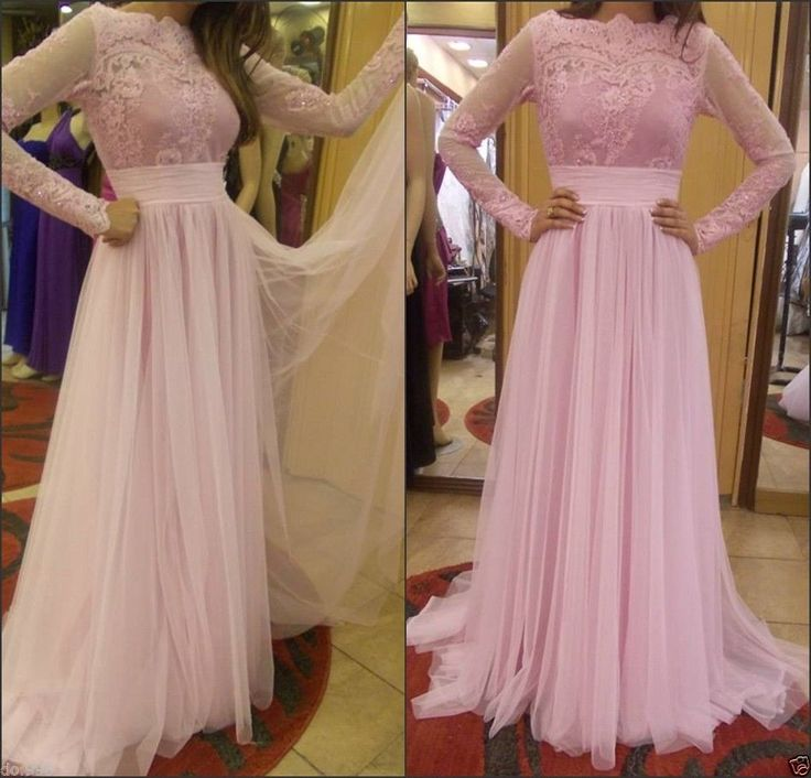 Pink Chiffon Lace Long Sleeve Evening Dress 2015 Boat Neck Formal Gowns Party