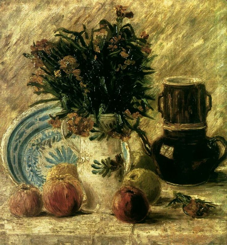 Vincent van Gogh - (Dutch, Post-Impressionism, 1853-1890) Vase with Flowers, Coffeepot and Fruit, 1887 Von der Heydt Museum, Wuppertal, Germany