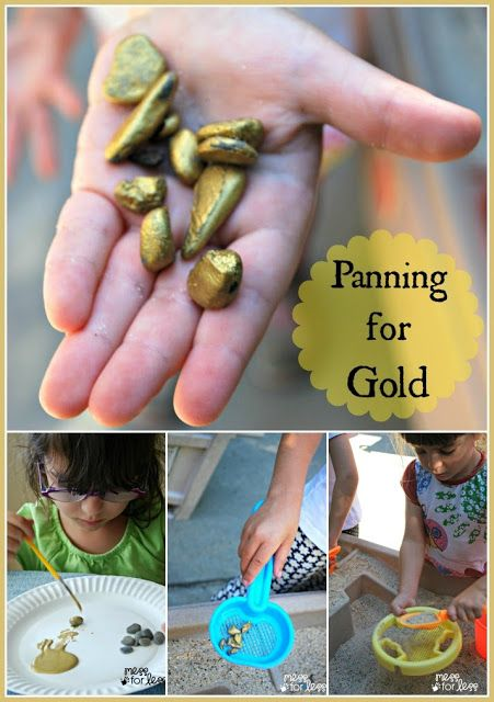 "Panning for Gold - collect & paint rocks & hide them in sand... use sifters to 'pan for gold' - from Mess for Less ("",)"