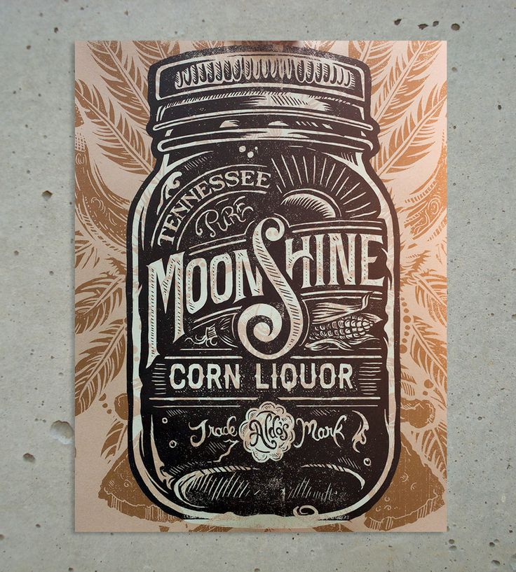Moonshine Print by Straw Castle on Scoutmob Shoppe. This corn liquor poster print was inspired by the maker's grandfather, a Bourbon distiller who made moonshine during Prohibition.