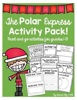 "These activities can be used in conjunction with The Polar Express book and movie!Included:*Pajama party invitations*Polar Express characters, setting, conflict, solution*Polar point of views*Polar Express character traits*Polar Express - beginning, middle, and end *Compare/Contrast (Book/Movie)*Writing Prompt - ""My Journey on the Polar Express""*Polar Express reflection"