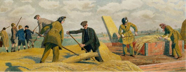 Threshing: Kent, by Evelyn Dunbar, 1940.