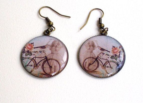 Resin cabochon bicycle design earrings by HirasuGaleri on Etsy