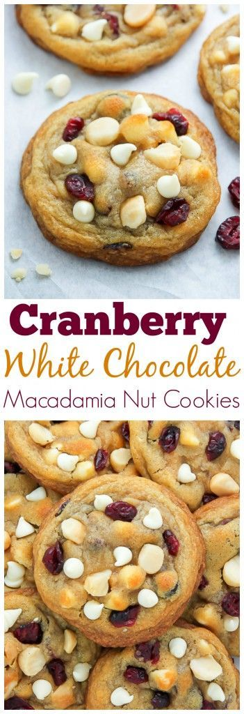 Cranberry White Chocolate Macadamia Nut Cookies // thick, chewy, perfect for fall