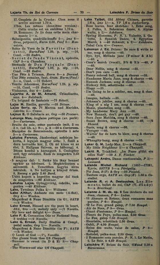 F. Lalechere im Universal-Handbuch der Musikliteratur aller Zeiten und Völker. Als Nachschlagewerk und Studienquelle der Welt-Musikliteratur (1904)