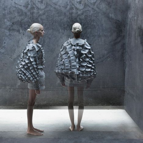 """Object 12-1"", dress made from interlocking foam pieces by Croatian designer Matija Čop - these garments reference construction techniques and shapes found in gothic architecture"