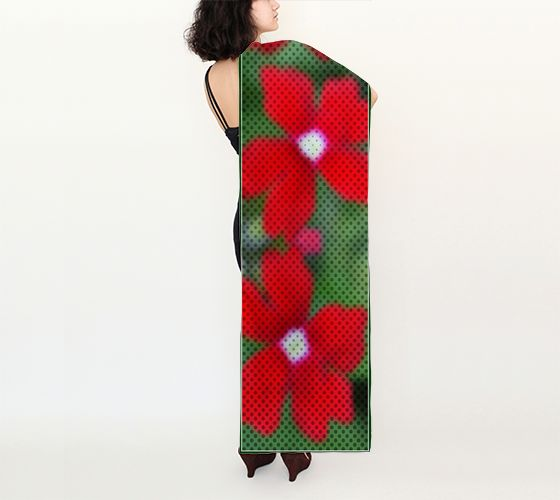 """Red Flowers and Dots Shawl  (16"""" x 72"""") Artwear Shawl created by fashion textile designer Nadia Bonello. Beautiful summer shawl/wrap for special occasions like vacations and weddings. REPIN to see later. #forher #wedding #travelwear"""