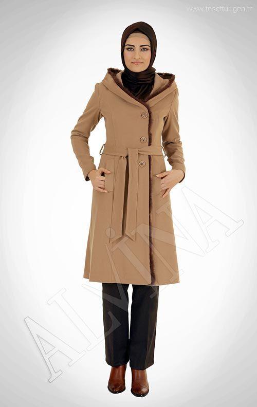 3015ca6060096 2018 Alvina Tesettür Kapşonlu Kaban Modelleri - Moda Tesettür Giyim ...
