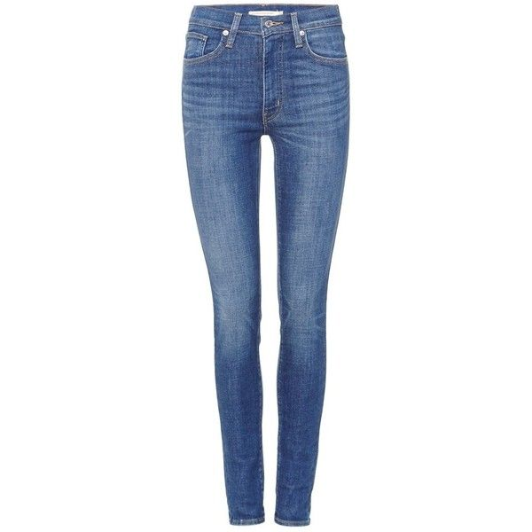 Levi's Mile high super skinny jeans met stretch ❤ liked on Polyvore featuring jeans, blue skinny jeans, skinny fit jeans, stretchy jeans, levi jeans and skinny jeans