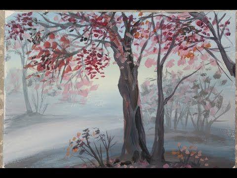 Осенний пейзаж поэтапно для детей. Деревья в тумане ...