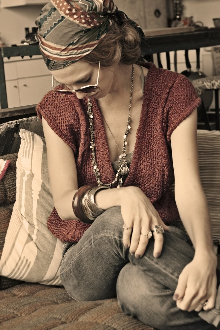 headwrap via The Photogramps: Search, Gorgeous Clothing, 70S Style, Wear, Photogramp, Sweaters Vest