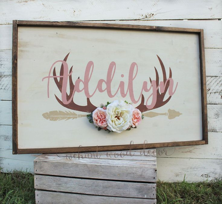 Rustic Large Nursery Baby Name Arrow and Antlers personalized reclaimed pallet wood sign little girl room boho flowers hand painted sign by WehuntWoodDecor on Etsy