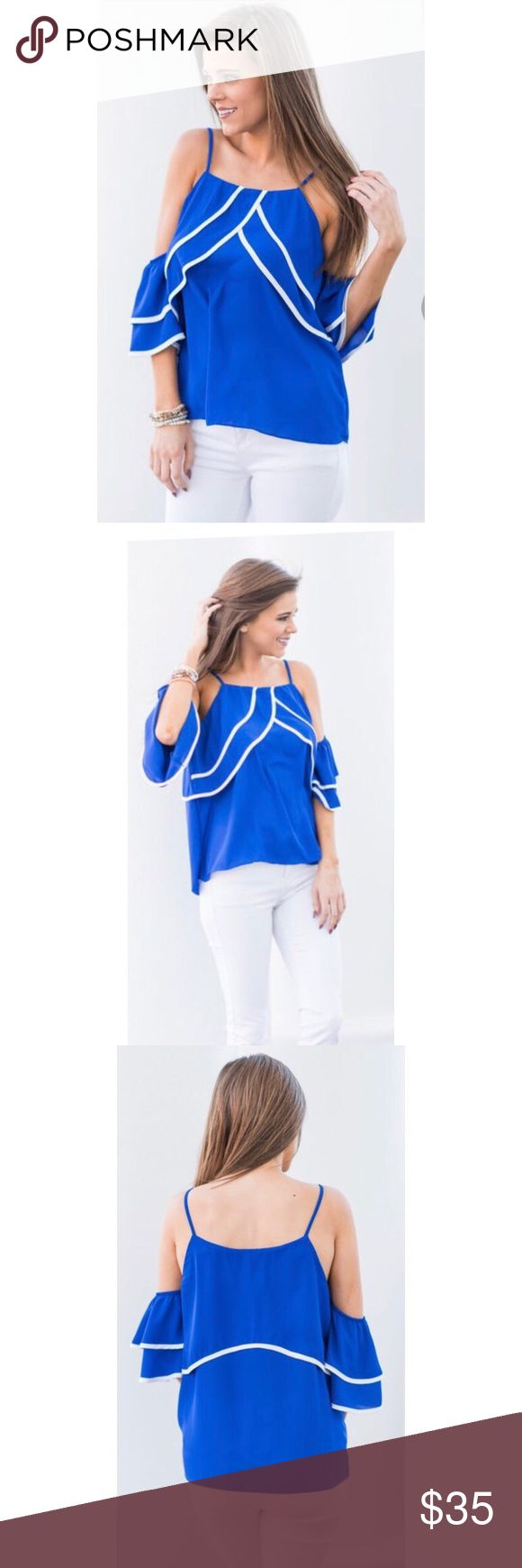 NWOT Cold Shoulder Summer Top This beachy, nautical top is so gorgeous 🌊🌊🌊 Never worn, perfect condition. TRUE LIGHT Tops Blouses