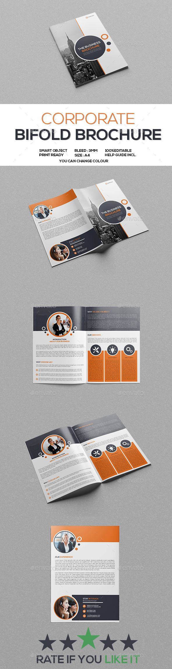 Corporate Bifold Brochure Corporate Bifold Brochure Template. Best for promoting your commercial services as well for multipurpose! Everything is editable well organized & print ready.