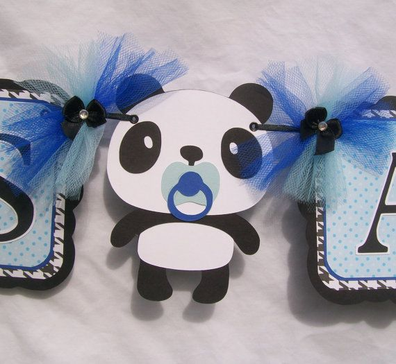 Panda baby shower banner, its a boy banner, blue, black and white, via Etsy