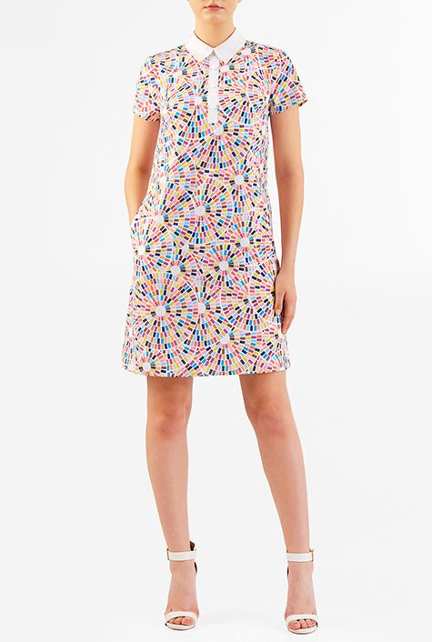 I <3 this Contrast collar geo print crepe shift dress from eShakti