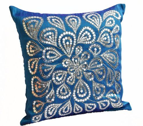 Blue decorative throw pillow covers with silver sequins- Dazzling pillow cover- Handmade throw ...
