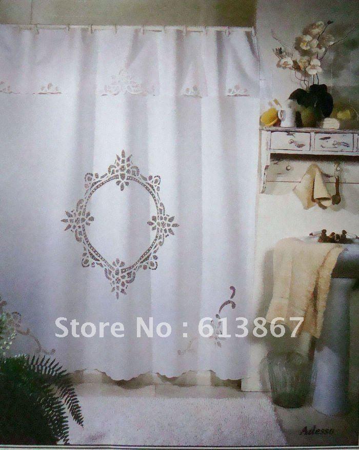 70 72 Vintage Cotton Handmade Battenburg Lace Shower Curtain With Hooks White Victorian