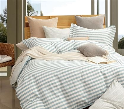 Shop at DormCo for our Old School Stripes Twin XL Comforter. This dorm necessities item is a must have for classic dorm room decor and features a pattern of light green and white stripes and is made of 100% cotton for luxuriously soft dorm bedding.