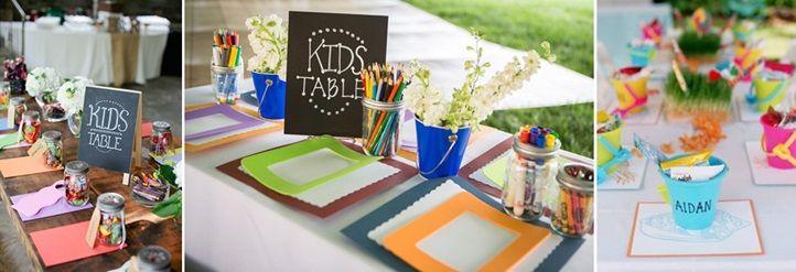 Stół dla dzieci na przyjęciu weselnym