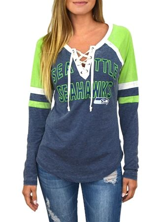 Seattle Seahawks Womens Laceup Long Sleeve Top | SportyThreads.com