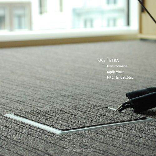 Bij de transformatie van het Optiebeursgebouw in Amsterdam zijn de OCS Tetra vloerdozen toegepast in de verhoogde vloeren. Hierbij is het tapijt doorgelegd in de deksel en genieten de werknemers nu van kabelvrije vloeren.