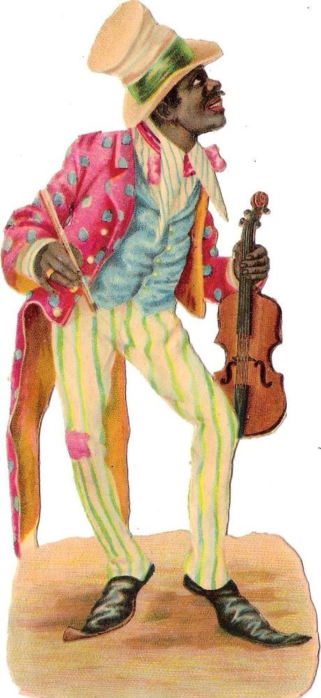 Oblaten Glanzbild scrap die cut chromo black american 15,5cm Musiker musician