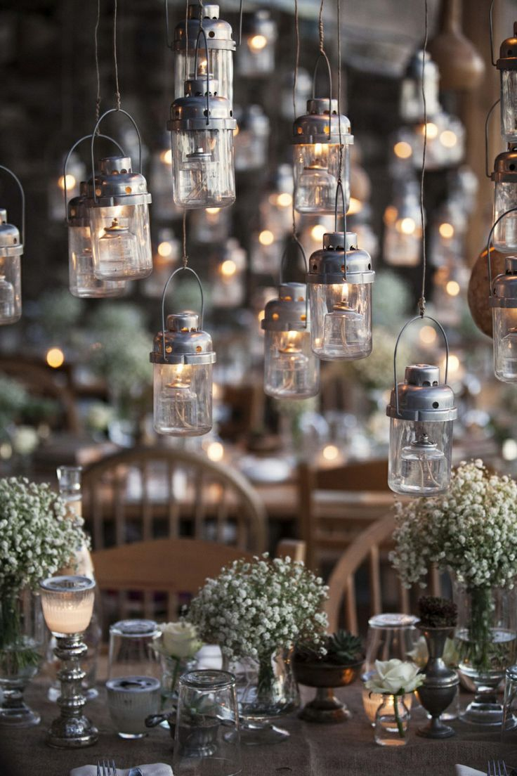 Hanging lanterns over the dinner table!