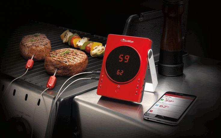 """GrillEye - 6 Port Profi Grillthermometer Für den Meister des Grills... GrillEyeist ein Grill Thermometer im Pocket-Format mitBluetooth Smart. Es verbindet sich mit Ihrem Smartphone und sendet die Messdaten an das Smartphone mit einer Reichweite von bis zu 80 Metern. So ist es kinderleicht, das Grillgut """"im Blick"""" zu behalten und Ihre Steaks werden immer genau auf den Punkt gebracht.  Mit dem schwenkbaren Alu-tragegriff desGrillEyeist die Anbringung auch unmitte ..."""