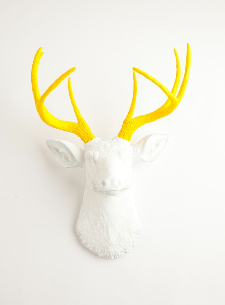 The Baron | Stag Deer Head | Faux Taxidermy | White w/ Yellow Antlers