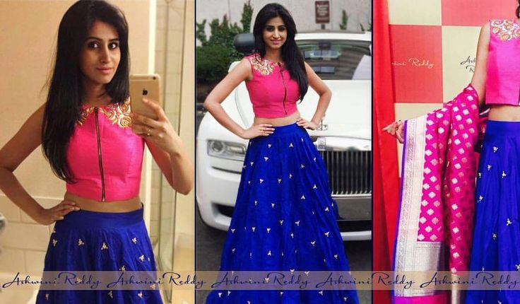 One of our favorite  croptop  silk  skirt teamed up with these  happening  benaras  dupatta    . This lady is a  charmer ;)  ashwinireddy   actress  shamili for  ata 2016  pink  blue  ensemble  love 07 July 2016