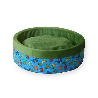 K&H Thermo-Kitty Heated Cat Bed, Small 16-Inch Round, Fish Print, Lime Green