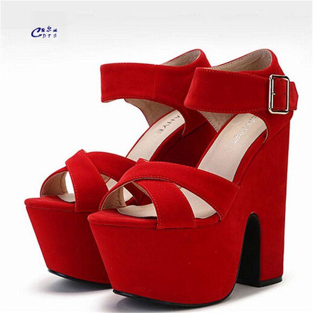 CDTS Летняя мода 15 см ультра высоких толстых каблуках сандалии открытым носком бархат натуральной кожи удобные женские туфли пряжки насосы