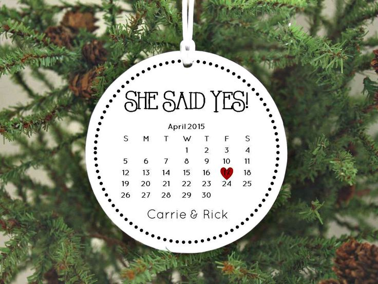 Engagement Ring In Christmas Ornament Part - 31: Christmas Ornament Engaged Ornament Engagement Gift Wedding Ornament  Wedding Gift Calendar Personalized Ornament She Said Yes
