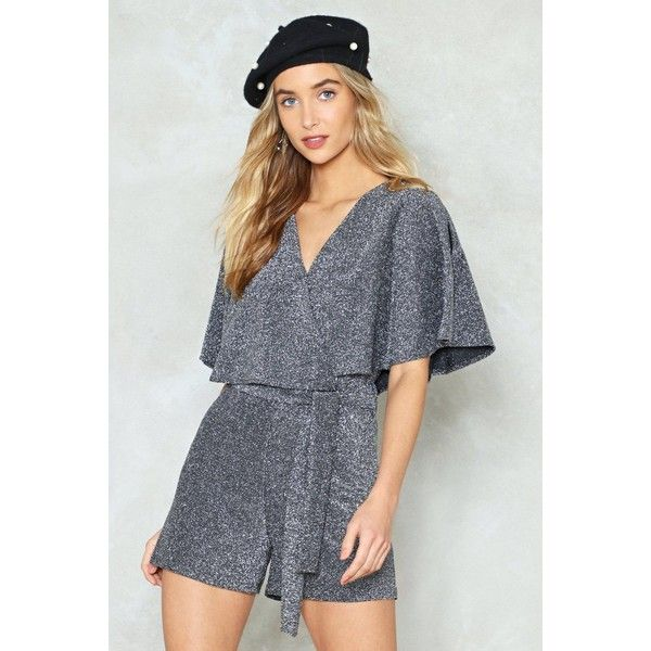Nasty Gal Cape Your Cool Glitter Romper ($27) ❤ liked on Polyvore featuring jumpsuits, rompers, silver, playsuit romper, v neck romper, tie romper, wrap rompers and nasty gal