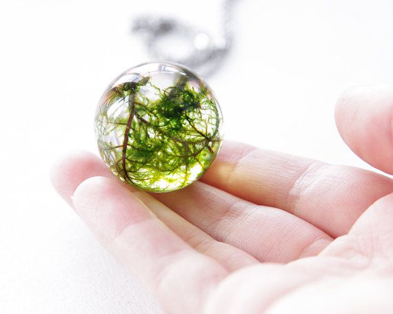 Large moss necklace - unique green resin orb ball - stainless steel chain on Etsy, $58.00