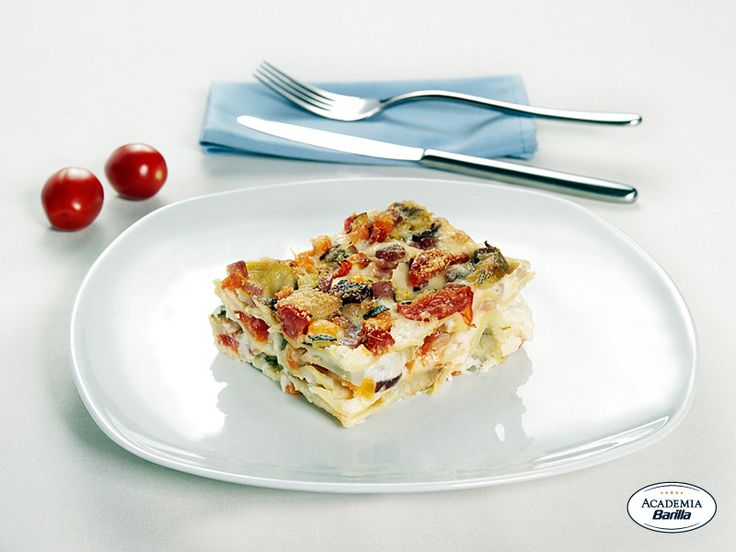 Lasagne con speck, carciofi e verdure