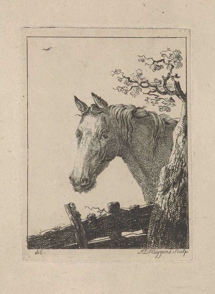 Frederik Lodewijk Huygens | Hoofd van een paard, Frederik Lodewijk Huygens, 1817 - 1887 | Hoofd van een paard naar links. Rechts een boom, onder de bovenkant van een hek.