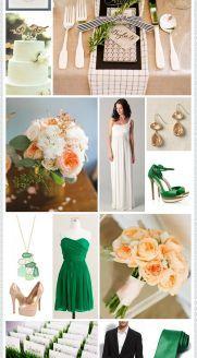 Emerald + Peach WeddingWedding Inspiration, Ideas, Colors Combos, Peach Weddings, Color Schemes, Emeralds And Peaches Wedding, Colors Palettes, Wedding Colors, Colors Schemes