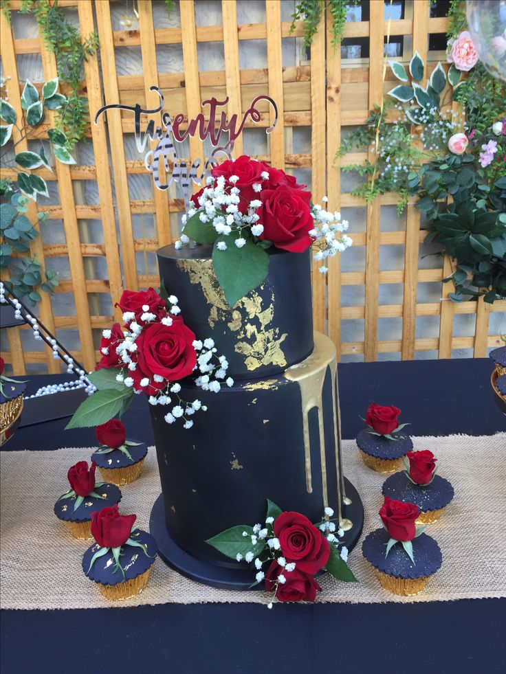 Black and gold 21st birthday cake.