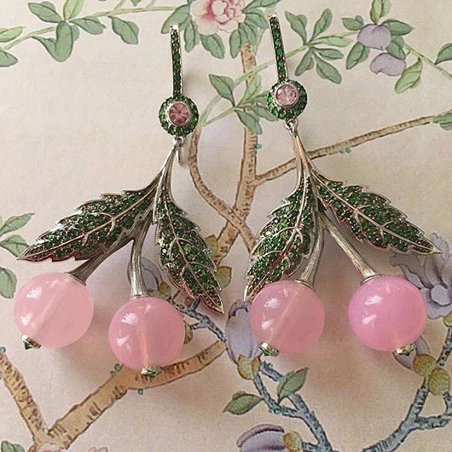 "Earrings ""Cherry"" silver 925 pink quartz tsavorites  #axenoffjewellery  @axenoff"