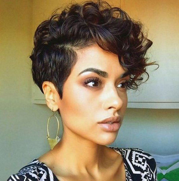 If you're looking for ways to sizzle up your pixie cut, curl the top part and set it with hairspray. It will make you look extra beautiful.
