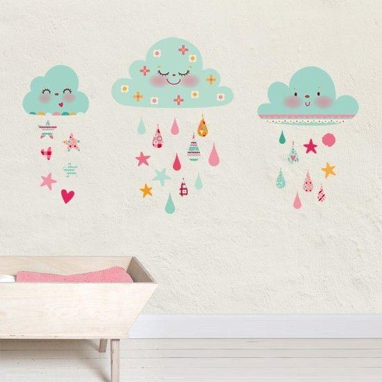 Vinilo infantil de tela Nubes de algodón azules dulce elemento decorativo para las habitaciones de los bebes en venta en la tienda online de vinilos infantiles.